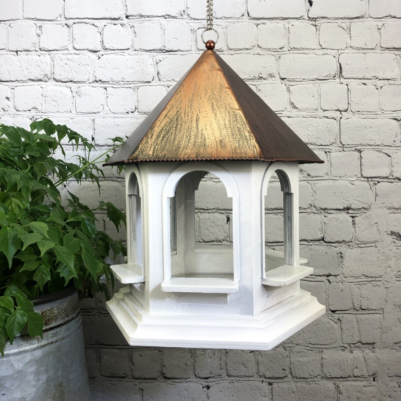 Rozel Hanging Bird Table with Metal Roof