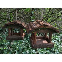 Set of 2 Hanging Wooden Bird Table Feeders