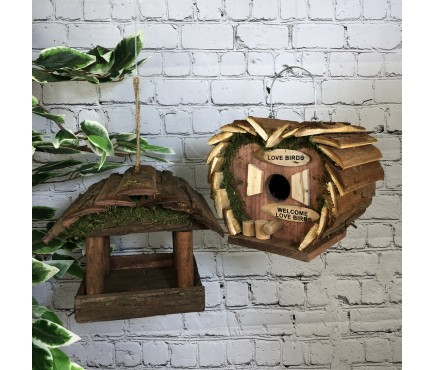 Hanging Wooden Bird Table & Love Bird Nest Box Set