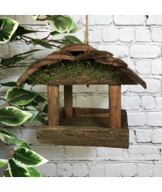 Hanging Wooden Bird Table Feeder