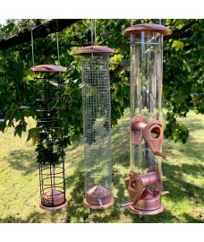Large Copper Style Hanging Bird Feeders Seed, Nut and Fatball (Set of 3)