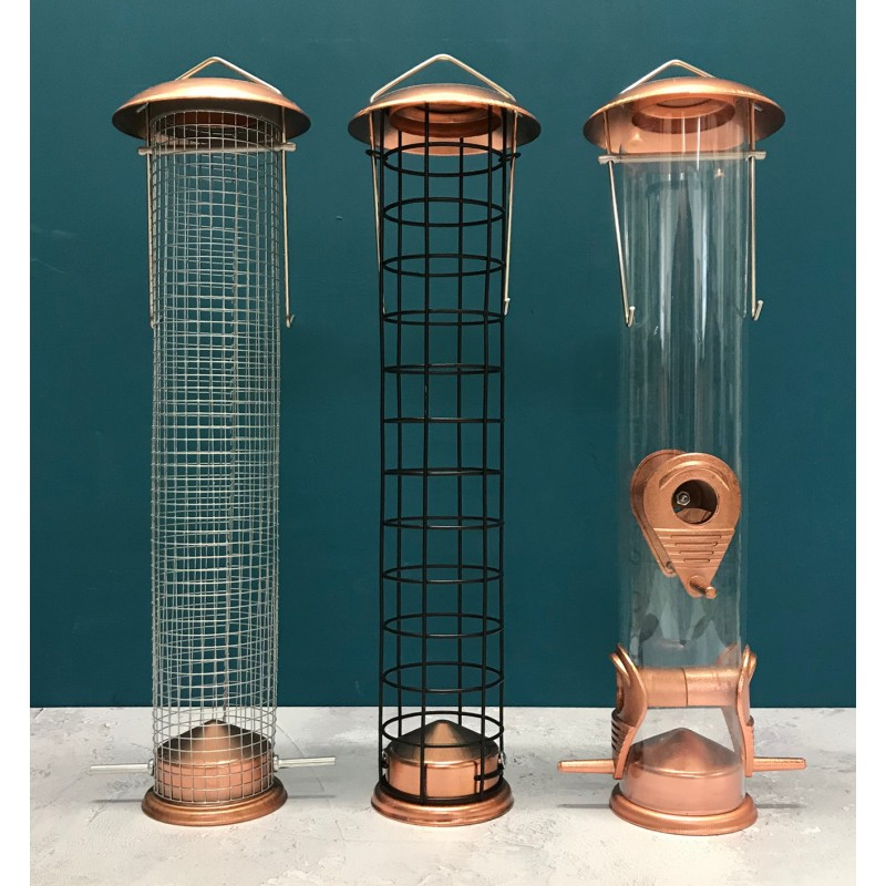 Large Copper Style Hanging Bird Feeders Seed, Nut and Fatball (Set of 3) - Damaged Box Stock