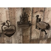 Set of 3 Cast Iron Bird Feeders Vintage Style