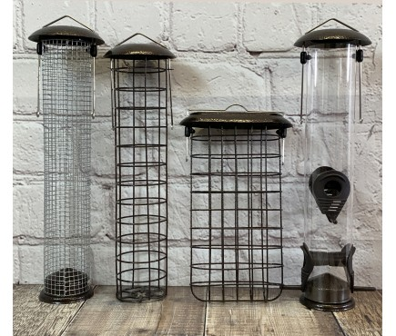 Large Hammertone Style Hanging Bird Feeders Seed, Nut, Fatball & Suet Block (Set of 4)