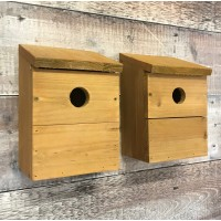 Wooden Multi-Hole Wild Bird Classic Nest Birdhouse Boxes (Set of 2)