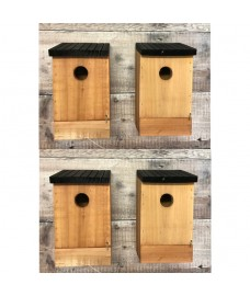 Traditional Wooden Bird Nest Box Birdhouses with Removable Bases (Set of 4)