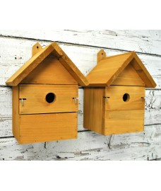 Wooden Multi-Hole Birdhouse Garden Nest Boxes (Set of 2)