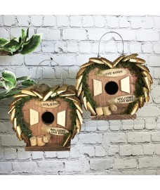 Hanging Wooden Love Bird Nest Box Birdhouses (Set of 2)