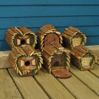 Hanging Wooden Bird Nest Box, Insect Hotel & Squirrel Feeder (Set of 6)