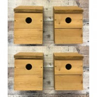 Wooden Multi-Hole Wild Bird Classic Nest Birdhouse Boxes (Set of 4)