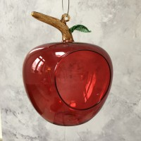 Red Apple Hanging Glass Bird Feeder by Chapel Wood