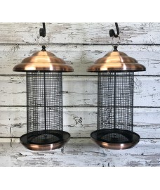 2 x Copper Extra Large Hanging Metal Bird Nut Feeders