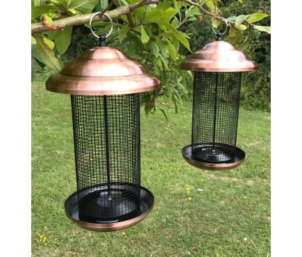 Set of 2 x Copper Style Extra Large Hanging Metal Bird Nut Feeders