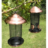 Set of 2 x Copper Style Extra Large Hanging Metal Bird Seed and Nut Feeders