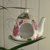 Vintage China Hanging Teapot Garden Bird Feeder by Fallen Fruits