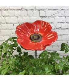 Cast Iron Wild Bird Poppy Flower Dish Bird Feeder