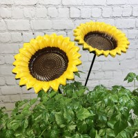 Cast Iron Wild Bird Sunflower Dish Bird Feeder (Set of 2)