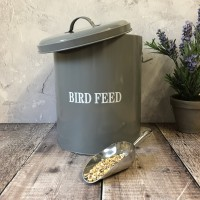 Bird Feed Storage Tin in French Grey with Aluminium Food Scoop