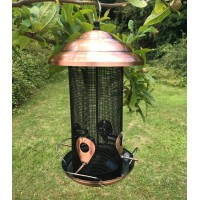 Copper Style Extra Large Hanging Metal Bird Seed Feeder with 4 Feeding Ports