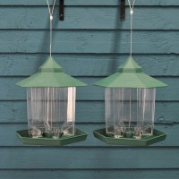 Green Hanging Chalet Bird Feeders for Seed and Nut (set of 2)
