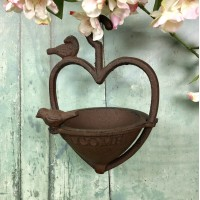 Vintage Hanging Bird Seed Feeder Cast Iron Heart Shape