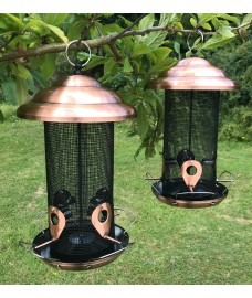 Set of 2 x Copper Style Extra Large Hanging Metal Bird Seed Feeder with 4 Feeding Ports