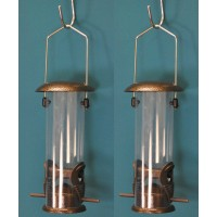 Set of 2 x Hanging Bird Seed Feeders For Selections Metal Bird Feeding Stations