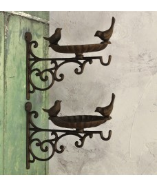 Cast Iron Wall Mounted Bird Feeder Bath Venus Hanger (Set of 2)