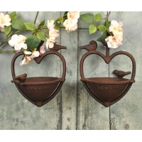 Cast Iron Hanging Heart Shaped Bird Feeder (Set of 2)