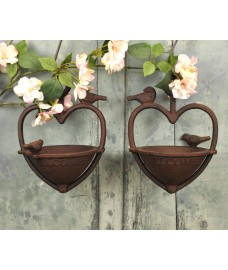 Vintage Hanging Bird Seed Feeder Cast Iron Heart Shape (Set of 2)