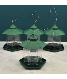 Green Hanging Chalet Bird Feeders for Seed and Nut (set of 4)