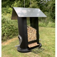 Oval Shaped Hanging Bird Seed Feeder with 4 Feeding Ports