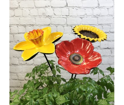 Floral Bird Feeders - Poppy, Daffodil & Sunflower Trio
