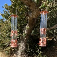 Copper Style Hanging Bird Seed Feeder with 4 Feeding Ports (Set of 2)