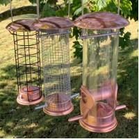 Copper Style Hanging Bird Feeders Seed, Nut and Fatball (Set of 3)