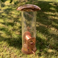 Copper Style Hanging Bird Seed Feeder with 2 Feeding Ports