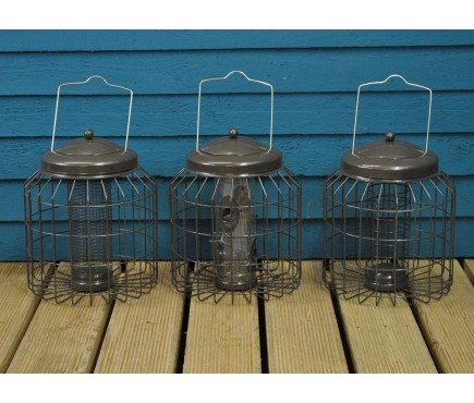 Delux Heavy Duty Squirrel Proof Bird Feeders (Set of 3) for Nut, Seed & Fat Ball