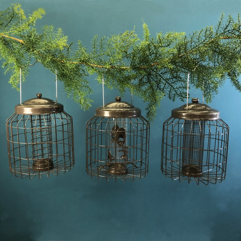 Delux Heavy Duty Squirrel Proof Hanging Nut, Seed & Fat Ball Bird Feeders (Set of 3)