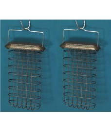 Set of 2 x Large Hanging Suet Cake Bird Feeders For Selections Metal Bird Feeding Stations