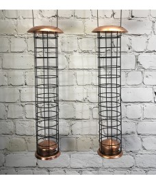 Large Copper Style Hanging Bird Suet Fat Ball Feeder (Set of 2)