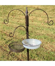 Metal Bird Feeding Station with Mealworm Tray and Water Dish