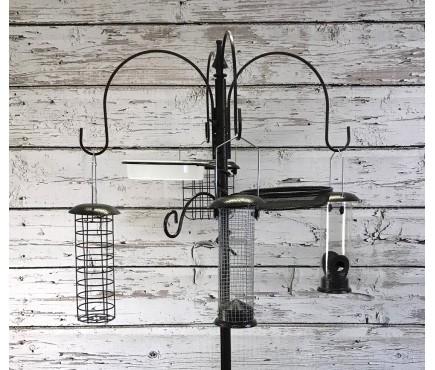 Metal Complete Bird Feeding Station with 4 Feeders