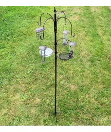 Metal Complete Bird Feeding Station with 4 Feeders with Stabiliser Stand