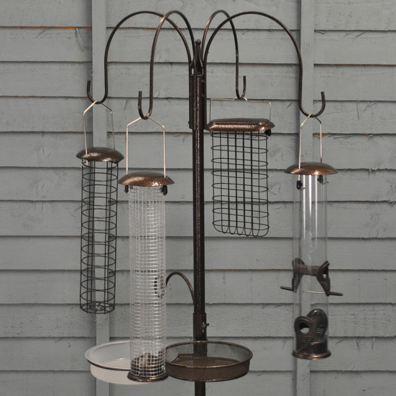 Metal Complete Bird Feeding Station with 4 Large Feeders - Damaged Box Stock