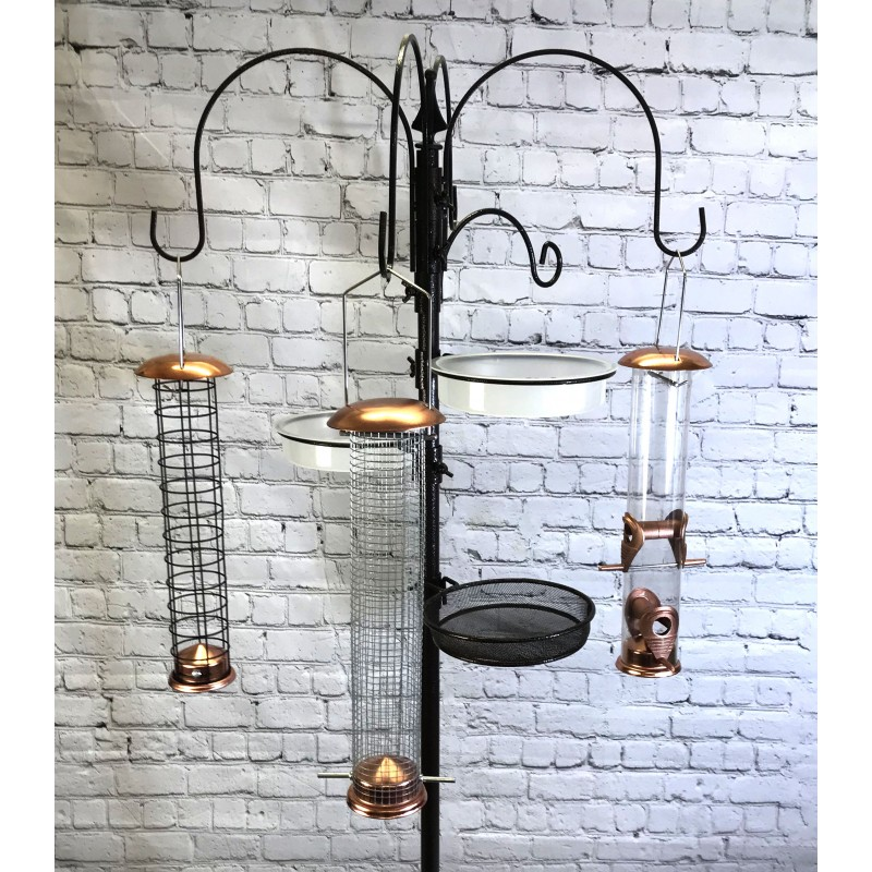 Deluxe Complete Metal Bird Feeding Station with Large Copper Feeders, 2 Water Dishes and Stabilizer Stand