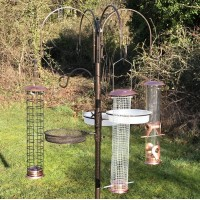 Deluxe Complete Metal Bird Feeding Station with Large Copper Style Feeders
