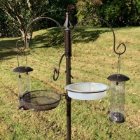 Metal Bird Feeding Station with 2 Feeders, Mealworm Tray and Water Dish