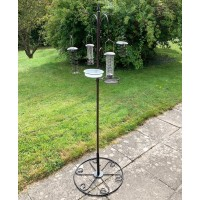 Metal Complete Bird Feeding Station with 4 Feeders & Round Metal Patio Stand