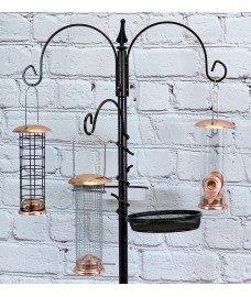 Hammertone Metal Bird Feeding Station with Copper Style Feeders, Mealworm Tray and Water Dish