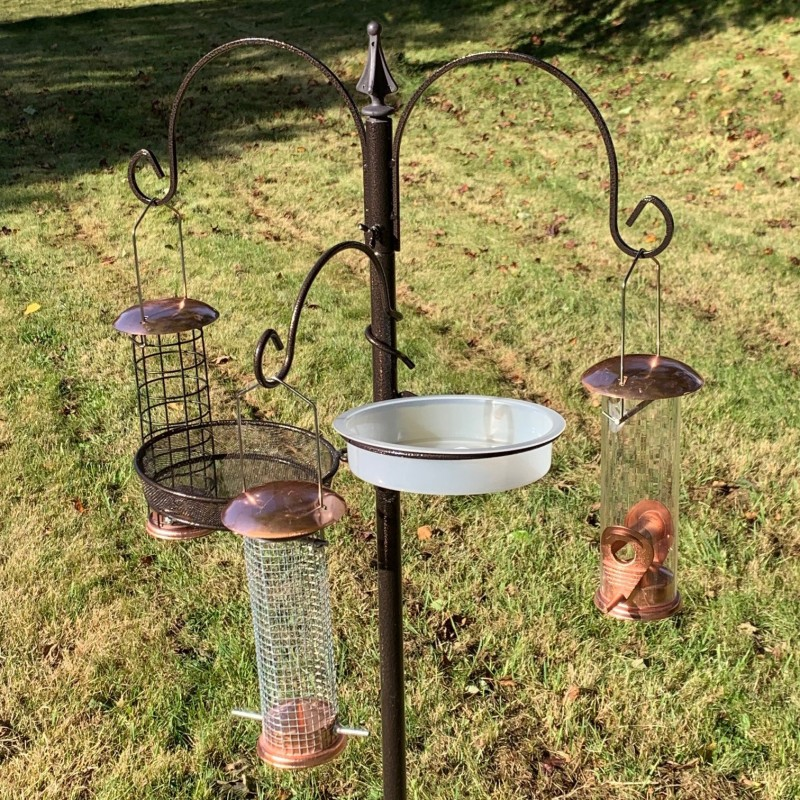 Metal Bird Feeding Station with Copper Style Feeders, Mealworm Tray and Water Dish